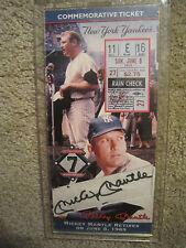 MICKEY MANTLE Retirement CommemorativeTicket June 8, 1969 / AUTOGRAPHED /