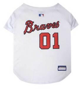 Pets First MLB Atlanta Braves Screen Printed Baseball Dog Jersey - White/Red