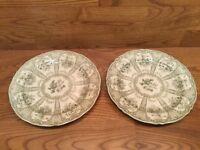 2 Antique English Ironstone Green & White Pattern Plates - Marked
