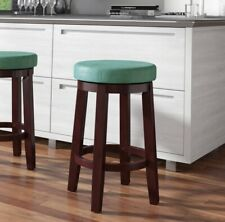 "Linon Maya Wooden Kitchen Island Bar Counter Swivel Stool Seat Chair, 24""- Teal"