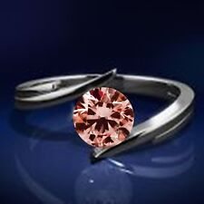 0.35 Cts  HPHT Pink RD Solitaire for Ring in 14K WG Valentineday Spl.Sale