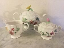 """Lenox """"Butterfly Meadow"""" Teapot And Lid, Sugar Bowl And Lid, & Creamer Set."""