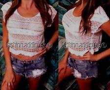 NWT Bohemian Lace Crochet Ivory Crop Box Tee Top Festival Blouse shirt Beach OS