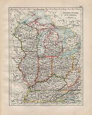 1902 VICTORIAN MAP ~ UNITED STATES NORTH EAST CENTRAL ILLINOIS OHIO KENTUCKY