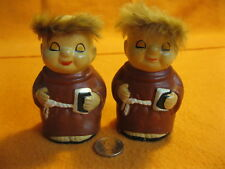 Vintage Happy Pious Monk Friar Salt and Pepper Shakers Ceramic            20