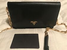 PRADA LUX SAFFIANO WOC CROSSBODY WALLET PURSE, BLACK