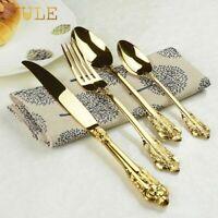 Vintage Western Gold Plated Cutlery 24 Pcs Dining Knives Forks Teaspoons Set
