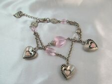 PEWTER & ENAMEL with GLASS BEAD LOVE THEME DOUBLE CHARM BRACELET, Pink Flower