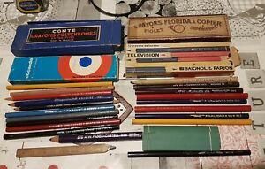 Lot Crayons couleurs Et Boites Anciennes Conté ... Marques Diverses