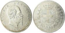 ITALIA , VICTOR EMMANUEL II , 5 LIRA PLATA , 1877 R ROMA