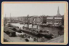 Original CDV von Stettin Hafen v.d. Baumbrücke Römmler & Jonas 1897 sf