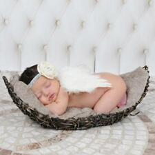 Newborn Baby Girl Boy Beige Feather Angel Wing+Flower Headband Photography