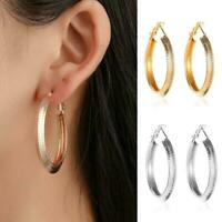 Women's Silver Plated Big Round Hoop Dangle Earrings Best Jewelry Charm Fas Z1H6