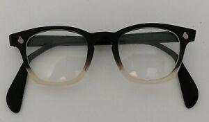 Vintage AO Horn Rim Eyeglasses American Optical LOGO Black Fade 60s  Frames RX