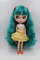 """12"""" Neo Blythe Nude Doll From Factory Jointed Body Green Double Color Hair"""
