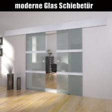 Doppel Glasschiebetür Schiebetür Glas Tür Satiniert mit Streifen 2x 2050x750 mm