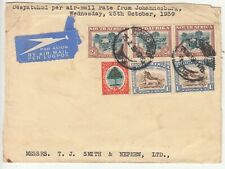 South Africa: Airmail Front, 3 x 2s6d, 1s pair stamps, Joburg-Hull, 25 Oct 1939