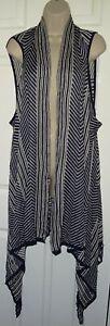 NEW Womens🦋CROSSROADS🦋navy mix stretch vest sleeve jacquard cardigan size 22