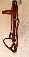 Western Imports Sidepull Round Leathernose, Lindel gebisslos Leder rund Vollblut