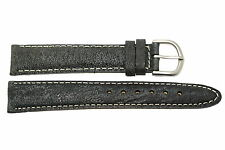 18MM GRAY TEXTURED STITCHED GENUINE LEATHER WATCH BAND STRAP FITS SEIKO
