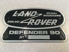 Land Rover Defender 90 Original Badge Solihull Warwickshire Rear Plate England