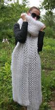 5 strands Premium Longhair Mohair EXTRA LONG SCARF hand knit White Men Women
