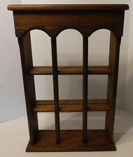 VINTAGE 3 TIER WOOD WALL SHELF CURIO CABINET CUP SAUCER DISPLAY SHELF