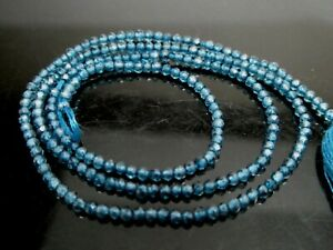"Genuine London Blue Topaz Micro Faceted Round 2mm Gemstone Beads Strand 13"""