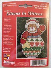 Lot525 Vintage Kittens In Mittens Cross Stitch Kit Spotted Bill Brown Janlynn