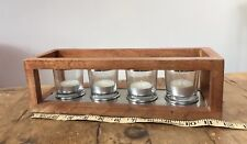 VOTIVE CANDLES WITH WOOD & GLASS FRAME