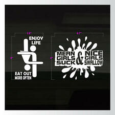 Set of 2 Enjoy Life Eat Out Mean Girls Suck Nice Girls SEXY Vinyl Decal Stickers