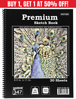 "30 Sheets 8.5"" x 11"" Sketchbook Drawing Artists Sketch Book Paper Pad Harbor 347"