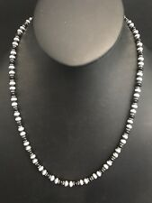 Navajo Pearls Sterling Silver Onyx Bead Necklace 22 Inches
