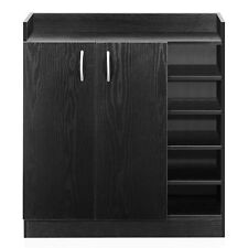 21 Pairs Wooden Shoe Cabinet Rack Storage Organiser Shelf 2 Doors Cupboard Black