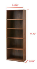 "New Listing71"" Tall 5-Shelf Standard Bookcase Closed Back Adjustable Storage Bookshelf Wood"
