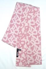 "Luxury Designer DKNY Pink White MONOGRAM Logo Wool Blend 64"" Long Scarf Italy"