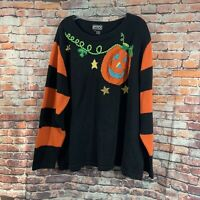 Berek  Halloween Pullover Sweater Jack O Lantern Beaded Pumpkin Woman 2X