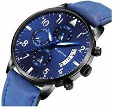Watch Man Luxury Cuena Full Blue Blue Leather Strap Analog High Qualit