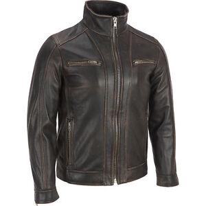 Mens Brando Leather Jacket Motorcycle Perfecto Black Cowhide Rivet Biker Jacket