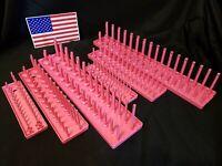 """Hansen6 Pc Socket Tray Metric SAE Storage Rack Holders 1/4"""" 3/8"""" 1/2"""" Pink- USA"""