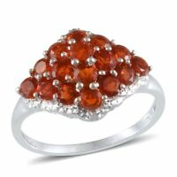 Jalisco Mexican FIRE OPAL , DIAMOND Cluster RING Plat / Sterling Silver 1.45 Cts