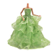 """1x Embroidery Green Wedding Gown Dress For Barbies Dolls 27cm/10.63"""" Toy K&Y"""