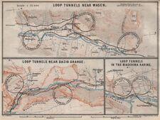ST GOTTHARD RAILWAY SPIRAL/LOOP TUNNELS Wassen Freggio Prato Biaschina 1897 map