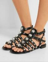 New Womens Open Toe Studs Gladiator Hollow Out Shoes Flats Sandals Beach Rivets