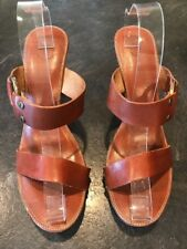 Women's Frye Boots Sophia Ring Brown Leather High Heel Sandals Shoes Size 10