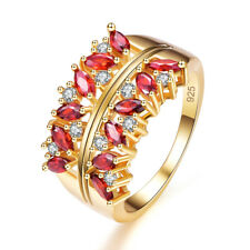 Delicate Women Jewelry Marquise Amethyst & Garnet 14K Yellow Gold Plated Ring