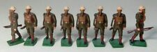 VINTAGE LOT OF 8 MILITARY WW1 LEAD GAS MASK WEARING TOY SOLDIER RIFLES STANDING