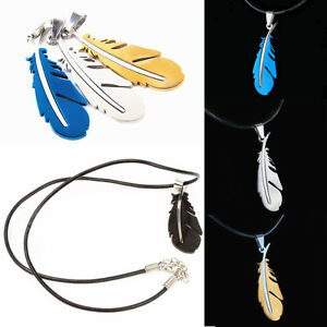 Fashion Stainless Steel Feather Charm Pendant Mens Leather Chain Necklace Gift