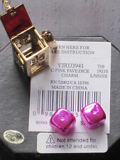 NEW 2010 AUTH JUICY COUTURE PINK PAVE  DICE CHARM YJRU3941 BNIB