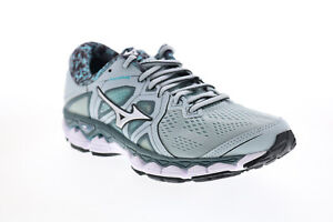 Mizuno Wave Sky 2 J1GD180204 Womens Gray Mesh Lace Up Athletic Running Shoes